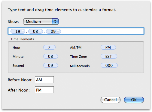 Changing time format