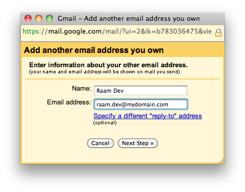 GMail - Add another address - Step 1