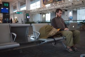 Working from the airport in Kuala Lumpur, Malaysia
