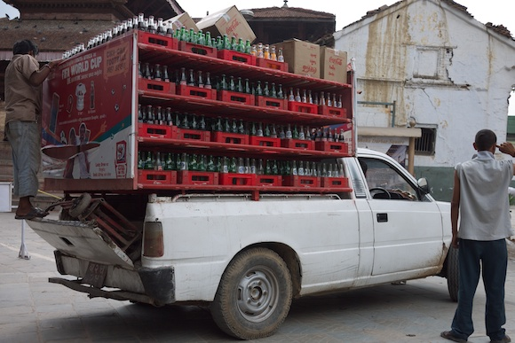 Fully loaded soda bottle truck in Kathmandu, Nepal