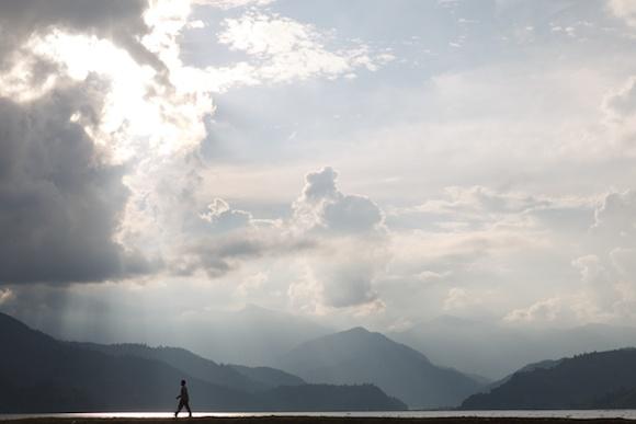 Sunset over Lake Pokhara