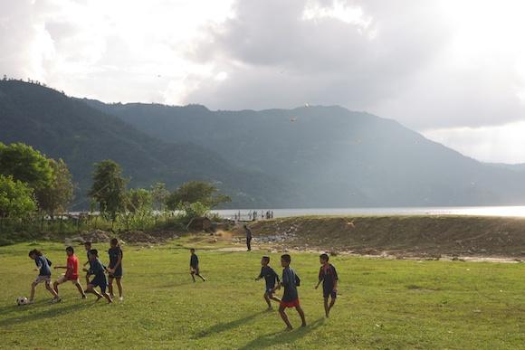 Kids playing football in Pokhara, Nepal