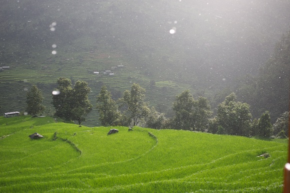 Monsoon rain shower in Hile, Nepal